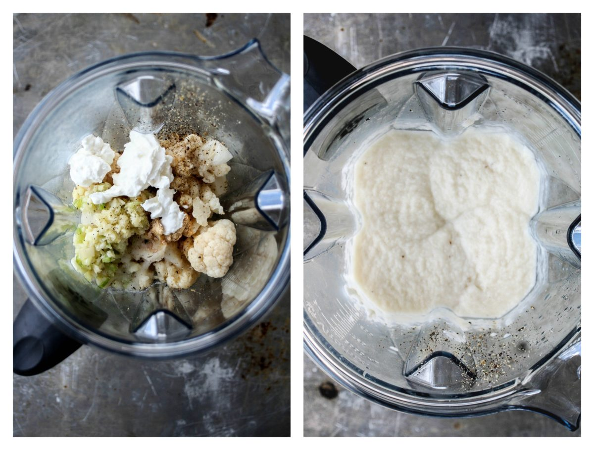 Cauliflower cream sauce collage