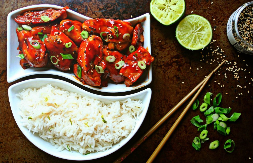 Sticky Sriracha Chicken with Lime Coconut Rice