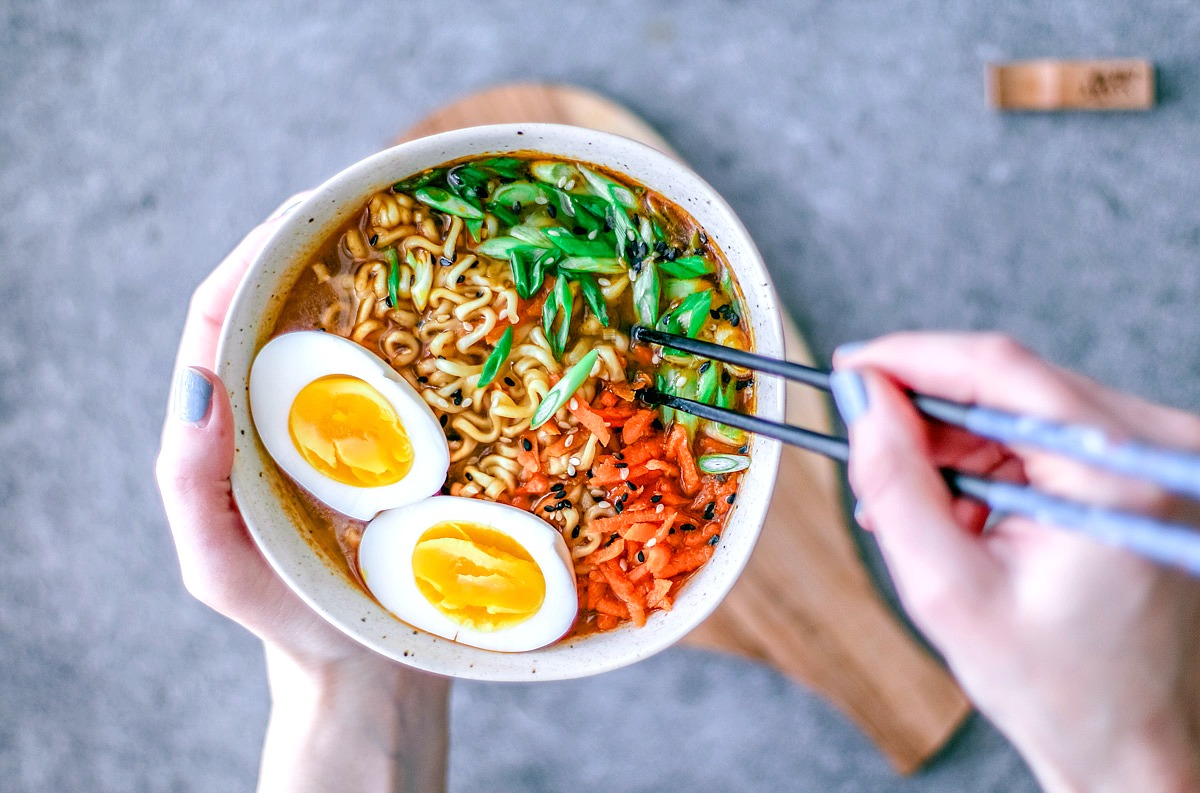 Easy Homemade Ramen Bowls with chopsticks