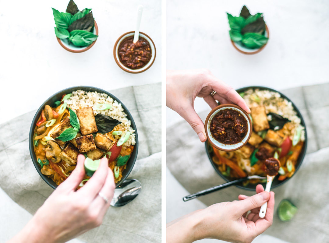Easy Thai Red Curry With Tofu being served
