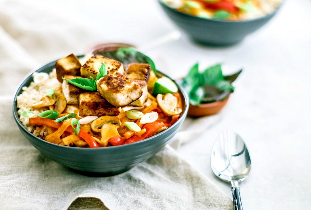 Easy Thai Red Curry With Tofu plated