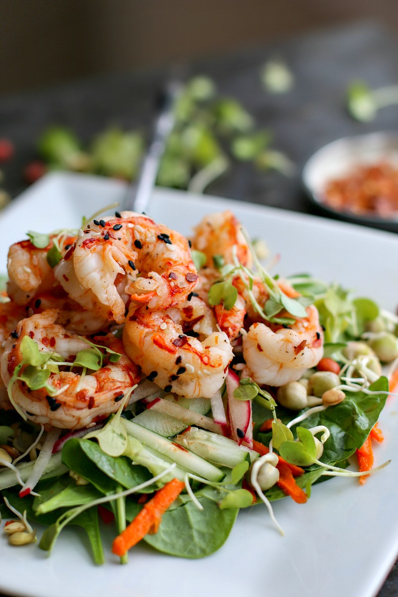 Toasted Sesame Salad With Spicy Shrimp