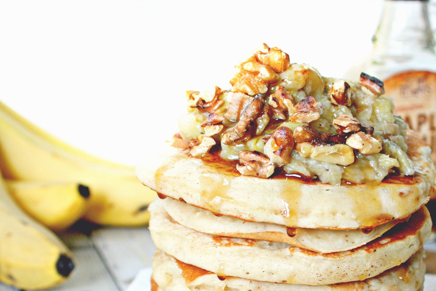 Pancakes with Banana Honey Compote and Toasted Walnuts 02
