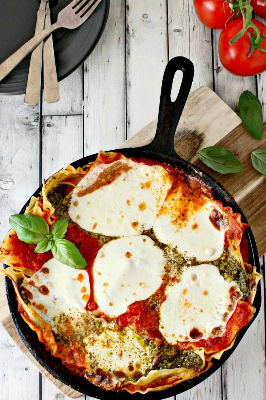 Quick Pesto and Tomato Skillet Lasagna