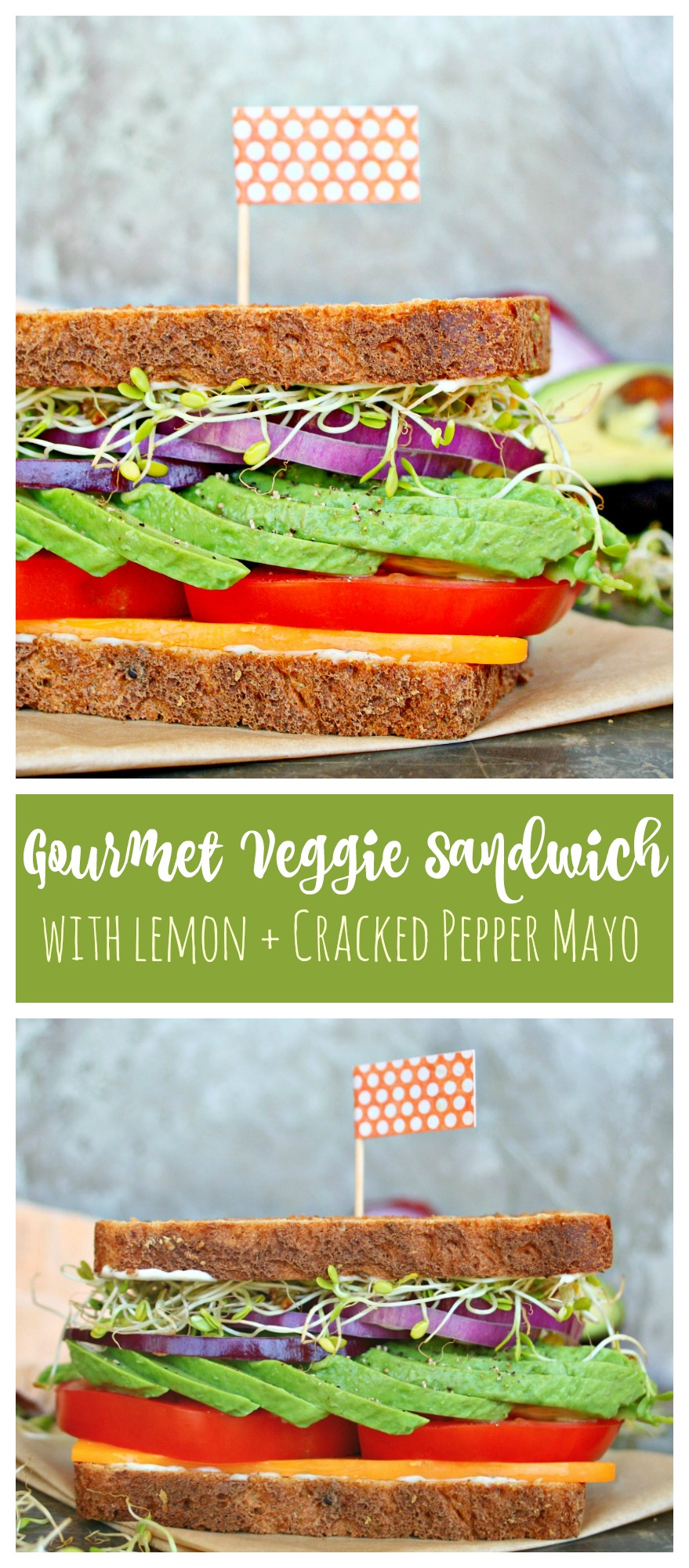 Gourmet Veggie Sandwich with Lemon and Cracked Pepper Mayo