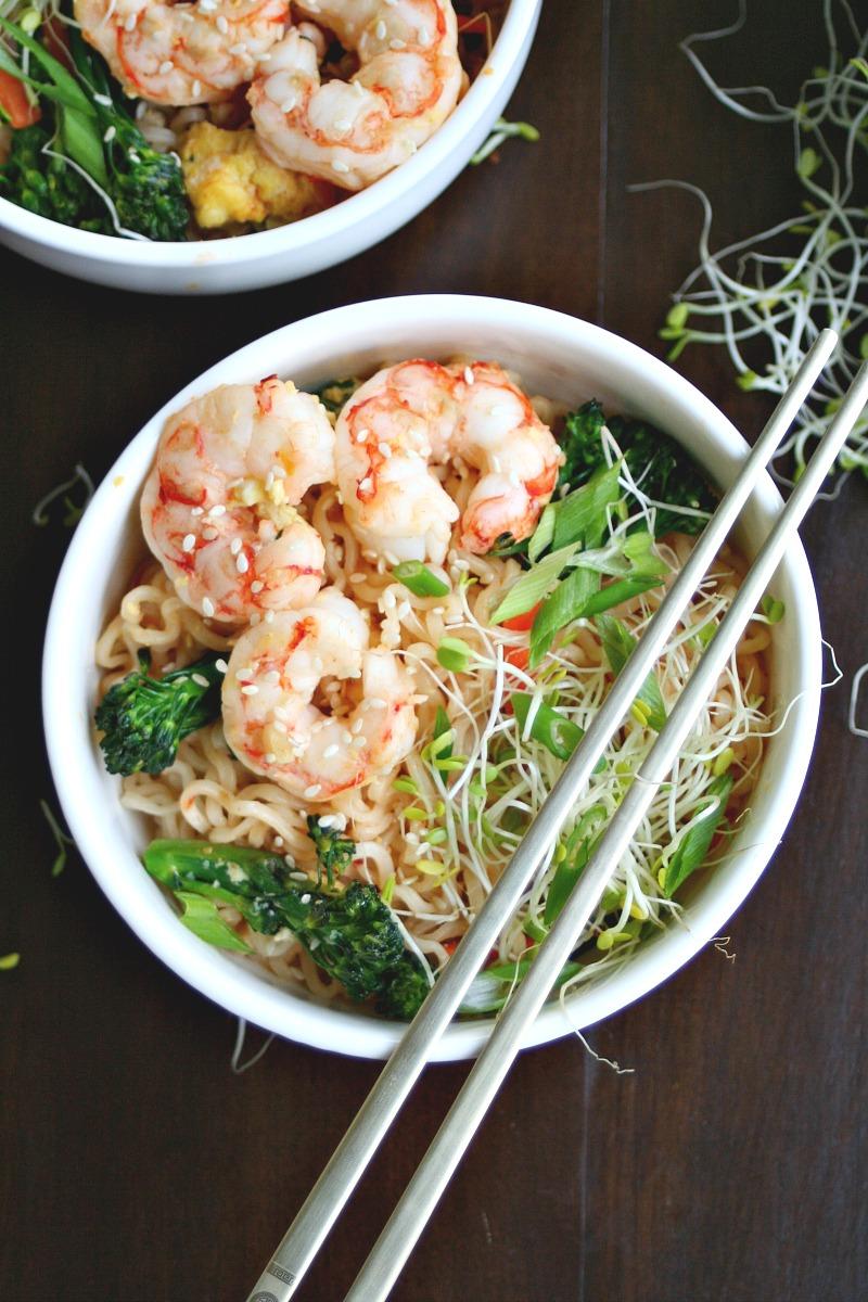 Quick Sesame Shrimp Ramen Stir-fry