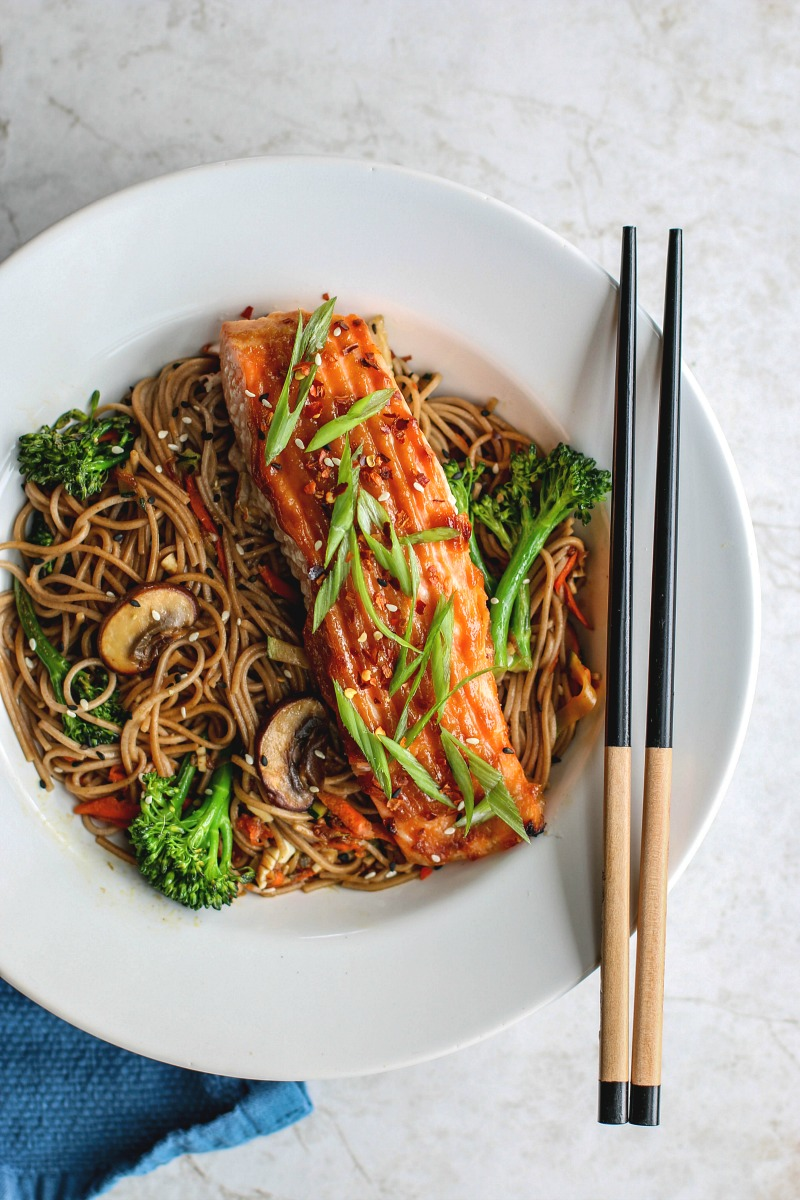 Miso Glazed Salmon With Sesame Soba Noodles | Killing Thyme