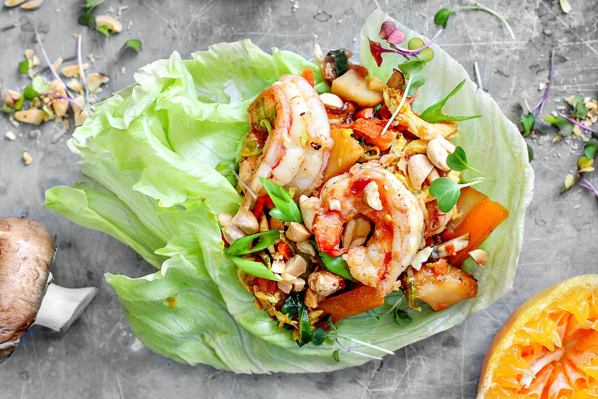 Citrus + Soy Shrimp Lettuce Cups | Killing Thyme