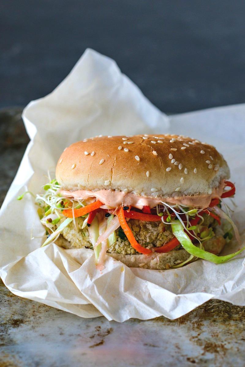 White Bean Burger With Sesame Ginger Slaw + Gochujang Yogurt Spread
