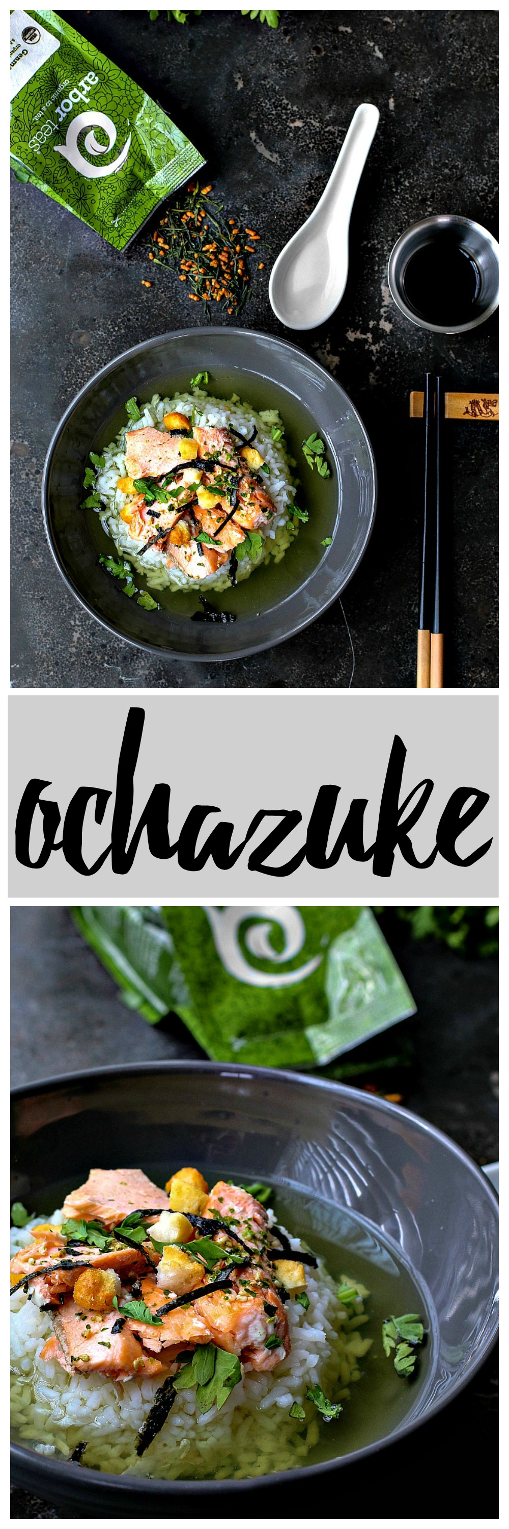 Ochazuke | Killing Thyme — a simple and belly-warming Japanese dish made by pouring green tea over cooked rice, salmon, and rice puffs.