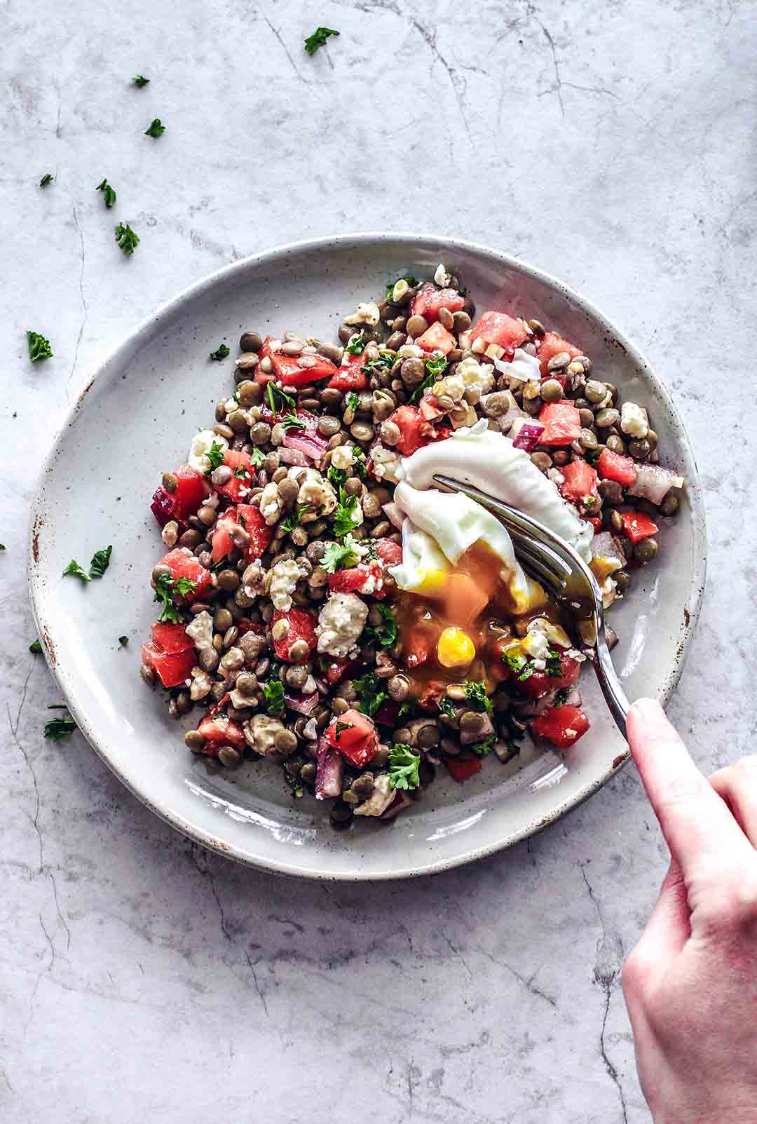 Refreshing Bruschetta Lentils With Feta | Killing Thyme
