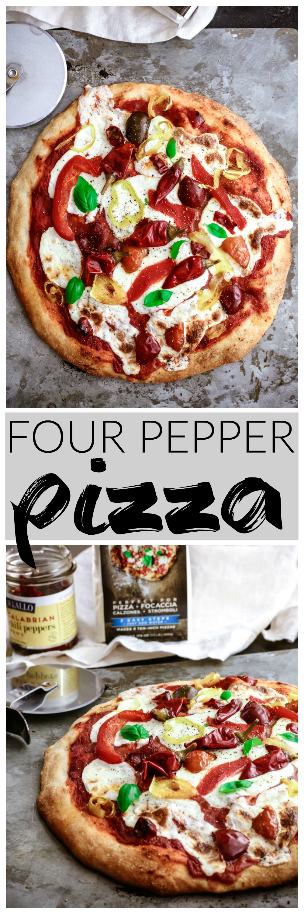 Four Pepper Pizza | Killing Thyme — This homemade pizza is the perfect way to spice things up for a date night in! A mélange of sweet, spicy, and briny peppers are strewn over fresh mozzarella for rustic pizza perfection.