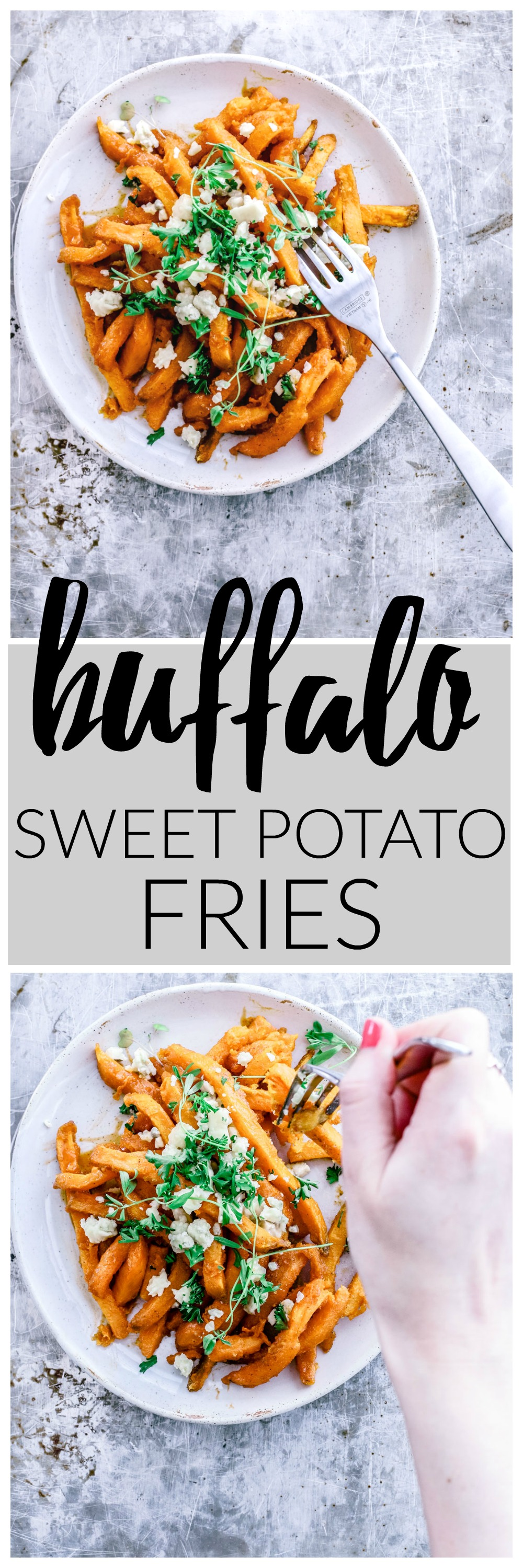 Buffalo Sweet Potato Fries With Smokey Blue Cheese | Killing Thyme — If you're a sucker for Buffalo-flavored *everything*, you need these fries in your life stat.