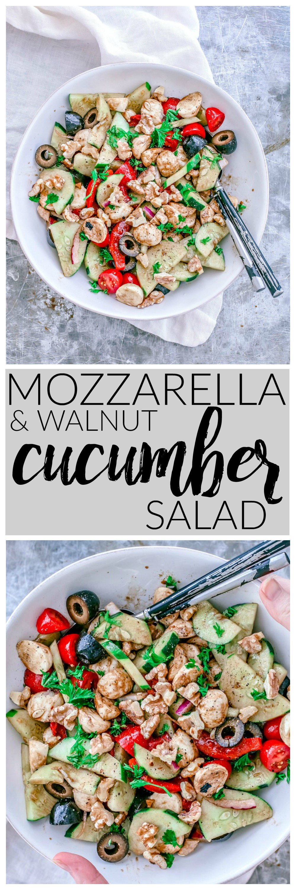 Crunchy Cucumber and Mozzarella Salad With Toasted Walnuts | Killing Thyme