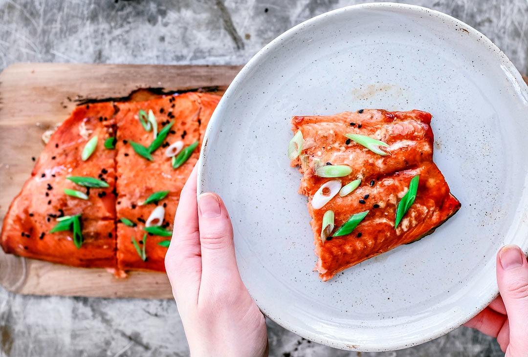 Cedar Plank Salmon With Lime and Sriracha Glaze | Killing Thyme