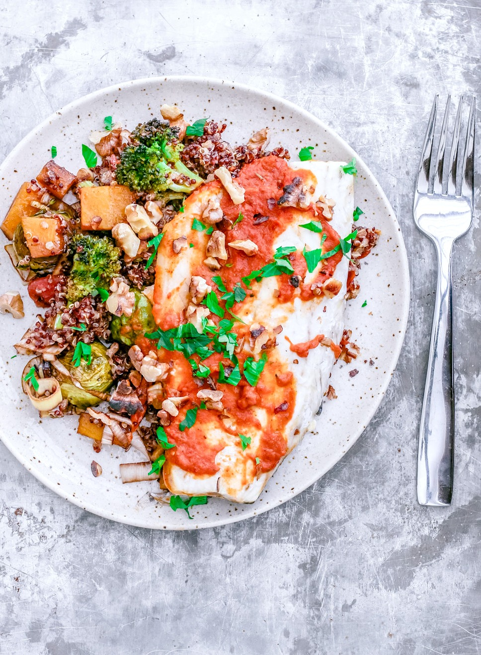 Striped Bass With Roasted Red Pepper Almond Sauce and Fall Harvest Quinoa | Killing Thyme