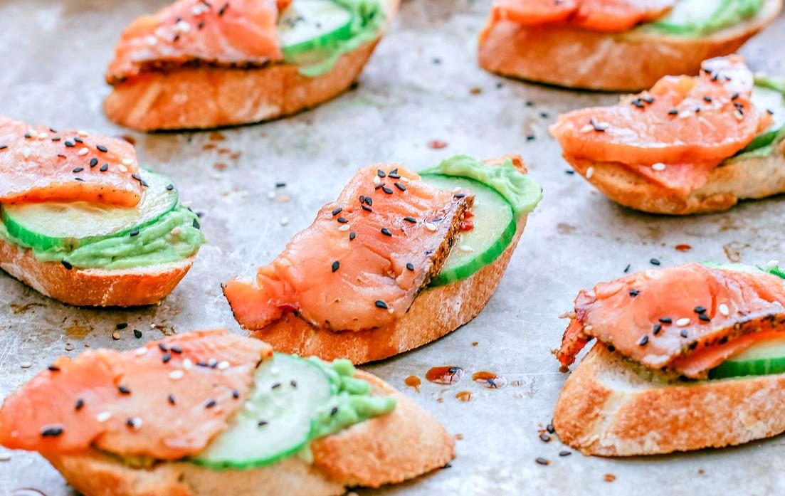 Sesame Soy Smoked Salmon Crostini | Killing Thyme
