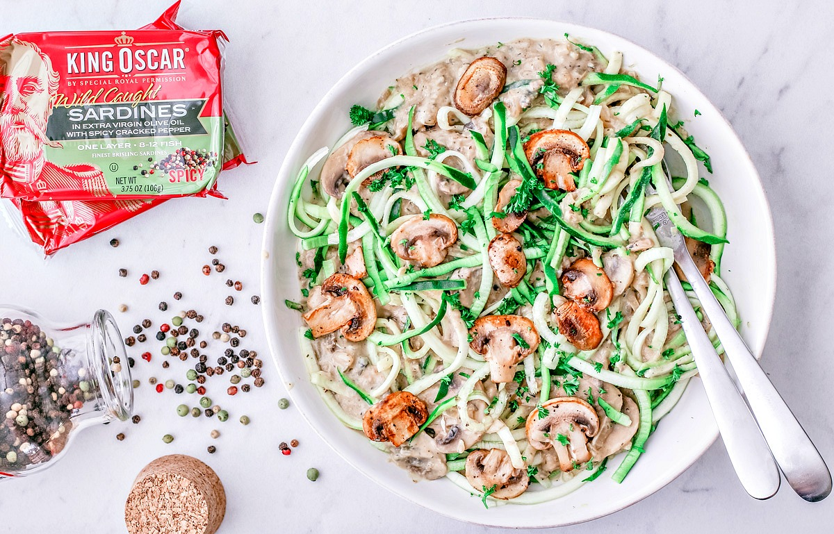 Zucchini Noodles With Mushroom Sauce and Peppered Sardines | Killing Thyme