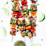 Easy Salmon Kebabs with Chimichurri.
