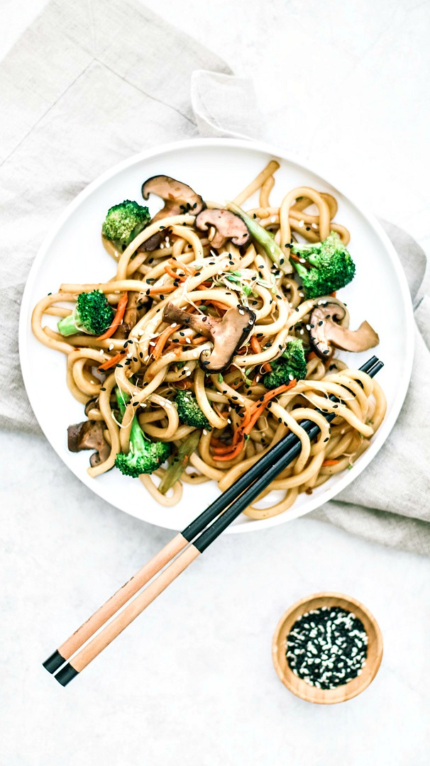 Spicy Udon Noodle Stir Fry With Shiitake Mushrooms Killing Thyme