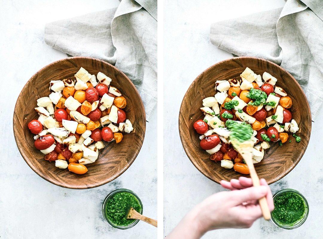 Grilled Halloumi and Burst Tomato Salad With Pesto ingredients