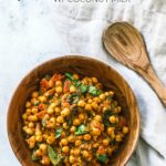 Pin Image with text—Bamboo bowl of Vegetarian Chickpea Curry.