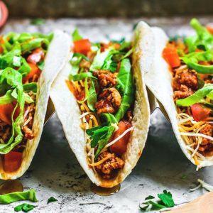 Close up of Instant Pot Ground Turkey Tacos.