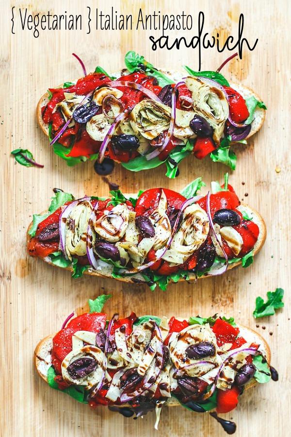 Italian Antipasto Sandwich {Vegetarian Sandwich}