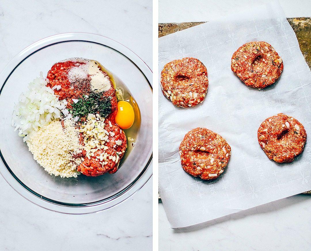 Collage of burger ingredients