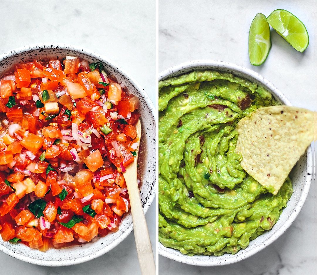 Collage of big bowl of salsa, and big bowl of guacamole.