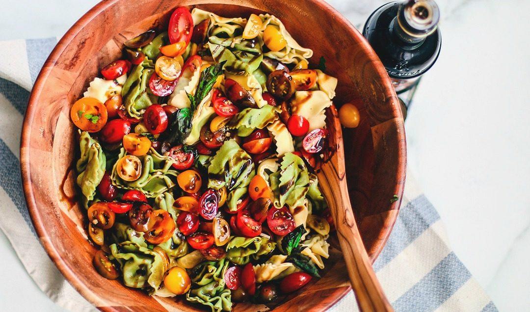 Big bowl of Bruschetta Tortellini Pasta Salad.