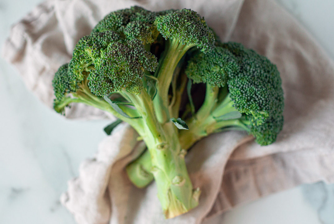 Two bunches of broccoli.