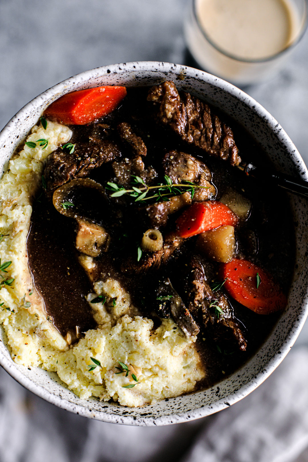 Big bowl of Guinness Beef Stew with Horseradish Mashed Potatoes.