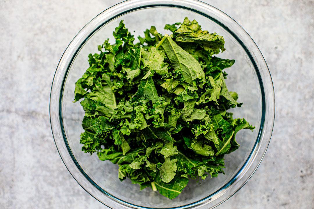 Bowl of torn kale.