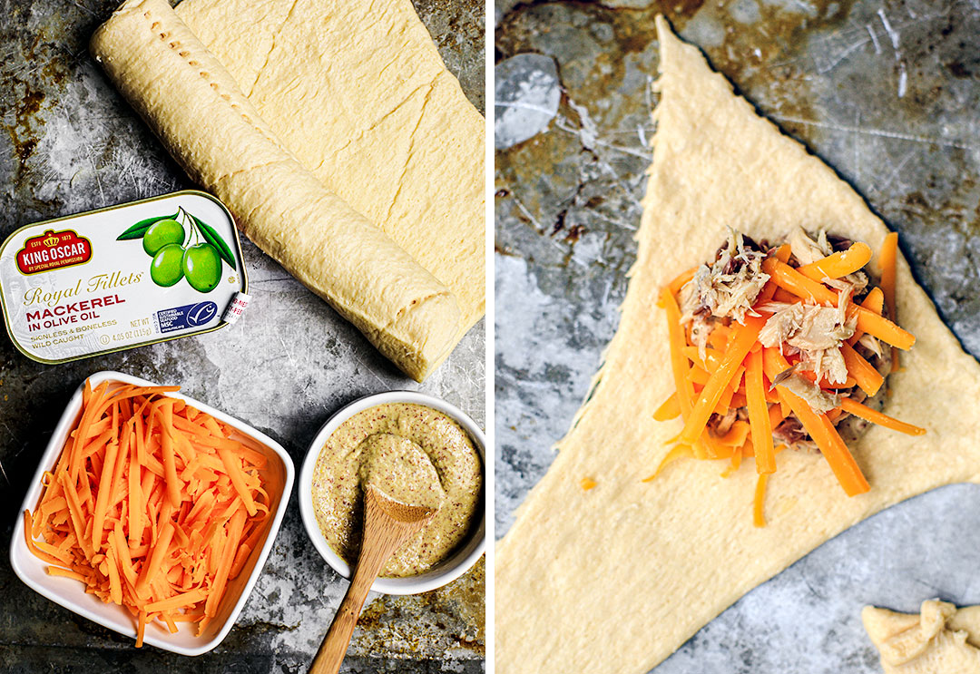 Collage of ingredients for cheesy crescent rolls with King Oscar mackerel.