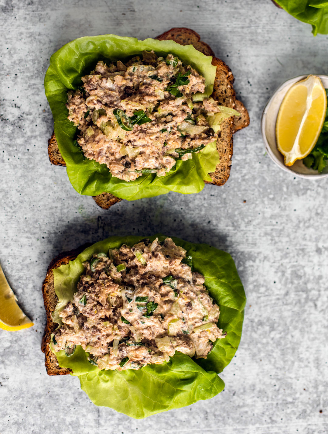 Toasted whole grain bread topped with bibb lettuce and spicy sardine salad mixture.