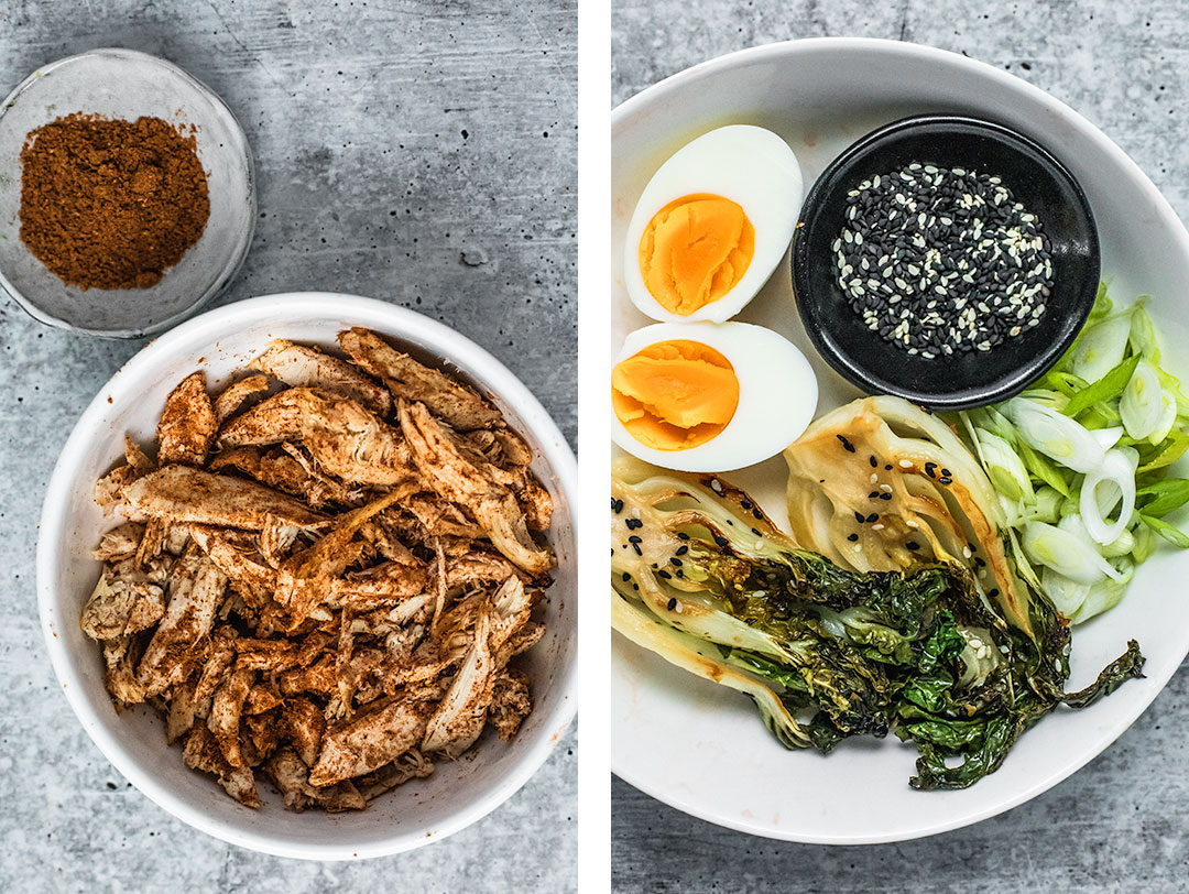Left: photo of chopped chicken seasoned with five spice; right photo: bowl of Ramen toppings