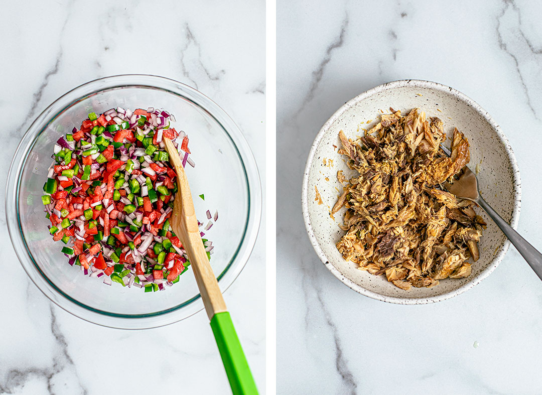 Collage of sheet pan nacho ingredients, including a bowl of tomatoes, peppers, and onions, and a bowl of shredded mackerel.