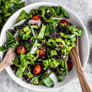 Colorful salad in a serving bowl.