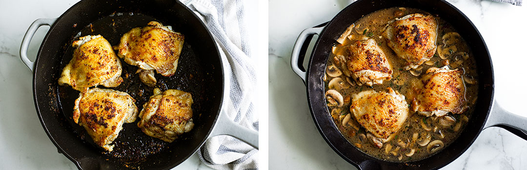 Collage of crispy browned chicken thighs, and then crispy browned chicken thighs in broth with mushrooms.