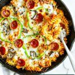 Cheesy Skillet Pizza Pasta Bake.