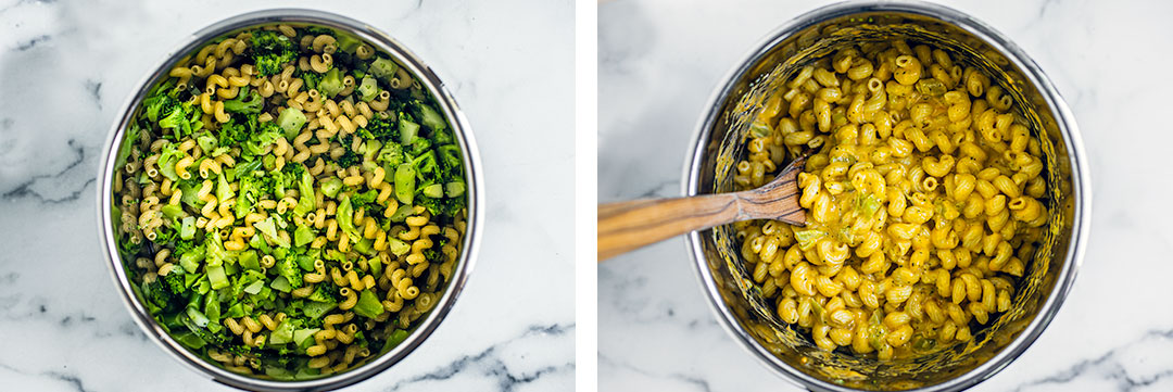Photo 1: Instant Pot with raw noodles and broccoli Photo 2: Instant Pot filled with cooked cheesy Mac with broccoli.