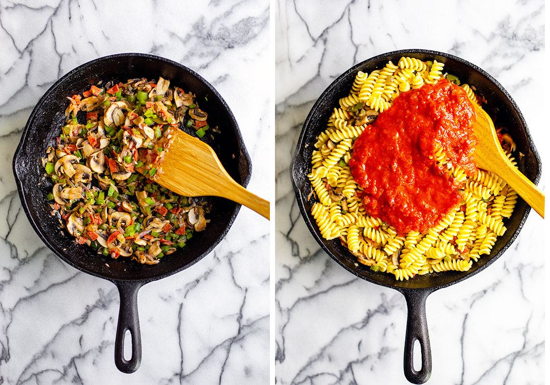 Collage photo 1: Skillet full of cooked veggies; photo 2: pasta and sauce added to skillet.
