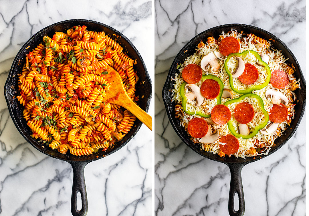 Collage photo 1: skillet full of pasta and tomato sauce with oregano; photo 2: skillet pasta covered in cheese, pepperoni, and veggies.