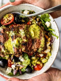 Greek Steak Salads with Herb and Garlic Vinaigrette