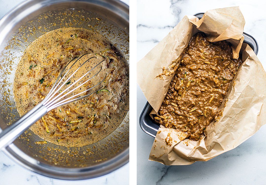 L: Photo of bowl of zucchini bread ingredients mixed; R: Zucchini bread ingredients in a loaf pan with parchment paper.
