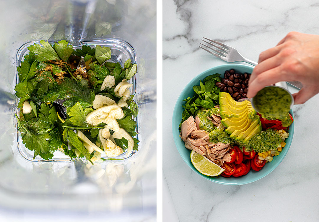 College: Left photo - Ingredients for dressing in a blender. Right photo-dressing before drizzle over Southwest Tuna Bowl.