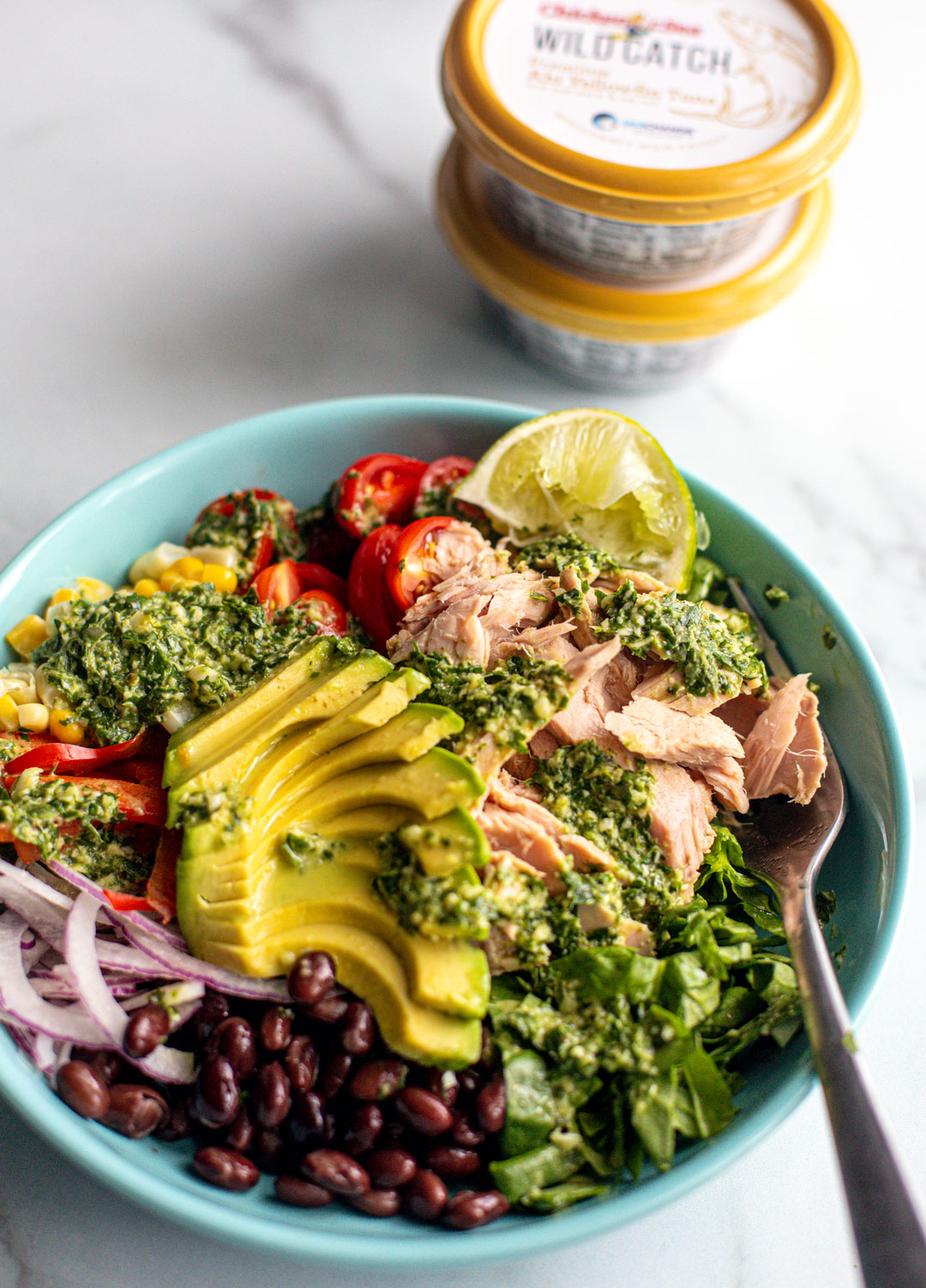 Vertical shot of Southwest Tuna Salad.