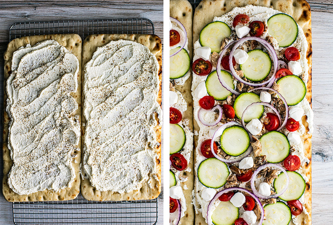 Side by side images of flatbread with ricotta, and flatbread with rest of the toppings added.