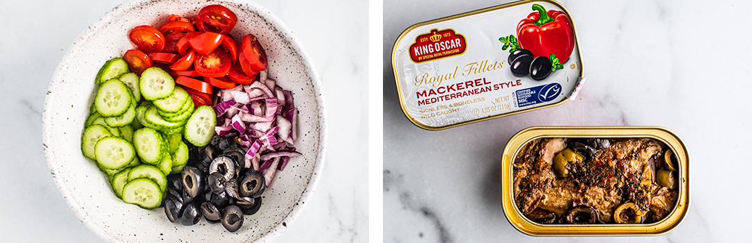 Left: bowl of fresh prepared vegetables; Right: Open can of KO Mackerel.